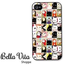Cat iPhone 4 Case -  Cute Cat Squares iPhone 4 Cover - iPhone 4 Covers - Plastic, Rubber & Protective iPhone 4 Cases I4C