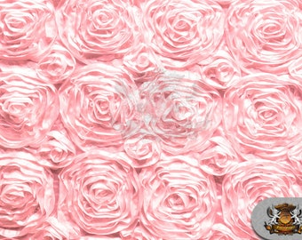 """Rosette Satin Fabric PINK / 54"""" Wide / Sold by the yard"""