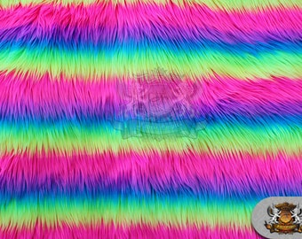 """Faux Fur Long Pile SHAGGY RAINBOW Stripes Fabric / 60"""" Wide / Sold by the yard"""