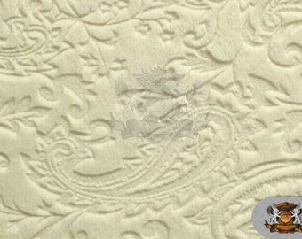 """Minky Cuddle Embossed Paisley 11 Ivory/ 58"""" Wide / Sold by the yard"""