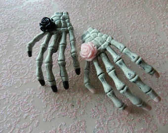 2 Skeleton Hand Hair Clips with Pastel Pink Rose and Black Rose-Pin Up Rockabilly Psychobilly Pastel Goth Zombies Horror Hair Clips