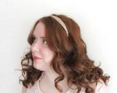 Peach Side Tiara, Glass Beaded Headband With Swarovski Elements, Pale Peach Bridesmaid Accessory And Flowergirl Hair Band