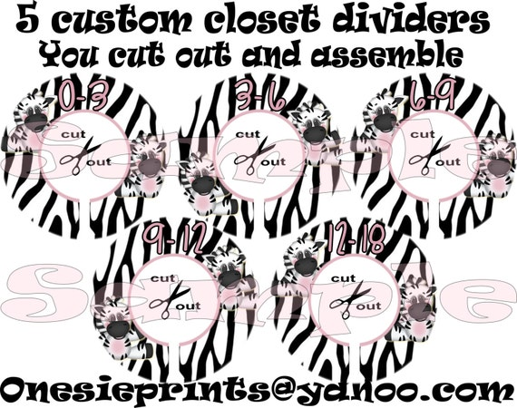 Items similar to zebra closet dividers set of 5 diy for Baby clothes size organizer