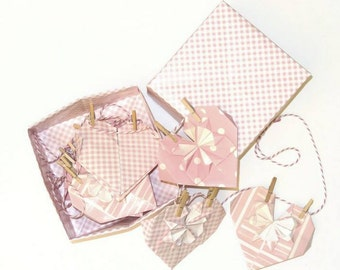 Box origami and his Garland hearts - 17 EUR