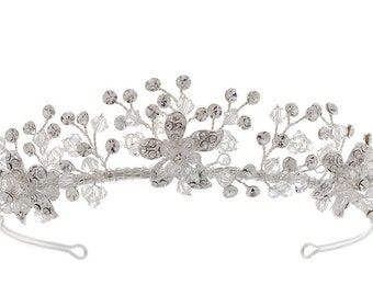 Flower Detail Crystal & Diamante Tiara