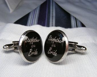 Stepfather of the Bride Cufflinks - StepDad Cufflinks - Formal Attire - StepDad Wedding Gift - Gentleman Gift - StepFather Cufflinks - Mens