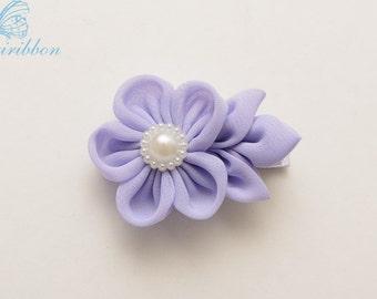 flower hair clip - lavender chiffon flower hair bow
