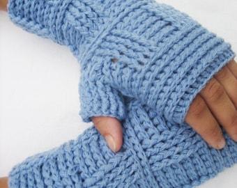 Fingerless Gloves, Crochet Fingerless Glove Blue fingerless women gift  women accessories Crocheted Autumn Winter Half Gloves