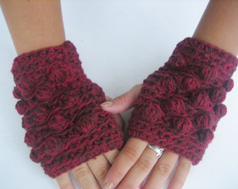 BLACK FRIDAY SALE! Cute Fingerless Crocheted Gloves Arm Warmers Dark Red With Brown Accessory Crochet Bob, Winter Accessories Christmas gift