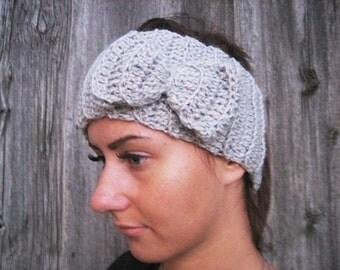 20% off sale Headband Crochet Headband Bun Earwarmer Head Wrap Gray Girly Romantic women headband winter accessories gray headband