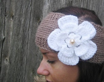 Handmade Knitted Headband with crochet flower  Wrap brown Flower Hat Girly Romantic