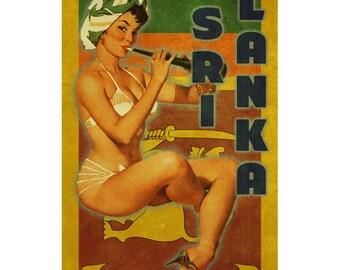 SRI LANKA 1P- Handmade Leather Wall Hanging - Travel Art