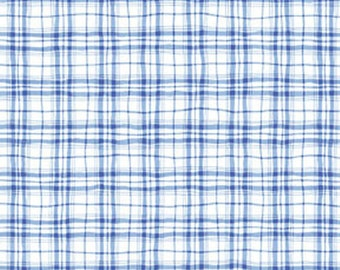 "25"" REMNANT This 'N That - Lattice in Cobalt Blue / White - Plaid Cotton Quilt Fabric - Nancy Halvorsen for Benartex Fabrics - 868-50 (W871)"