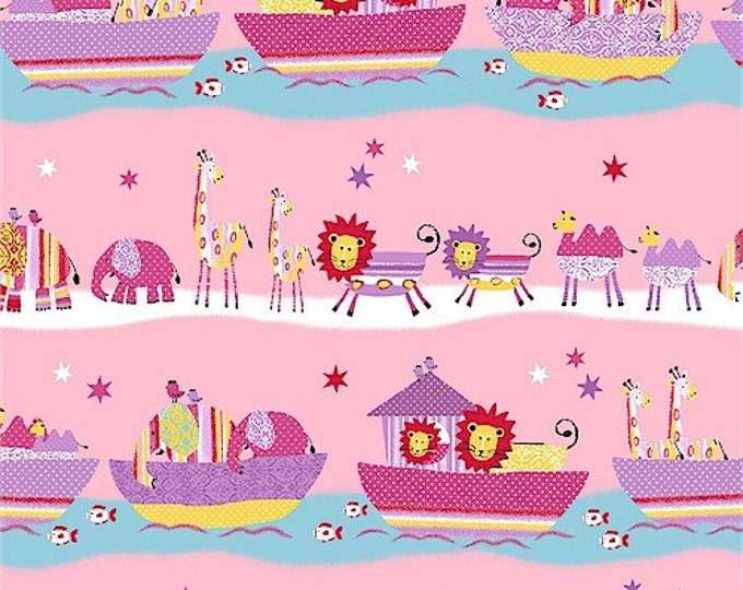 SUPER CLEARANCE!  - One Yard Two By Two - Animal Stripe in Pink - Cute Kids Blue Purple Cotton Quilt Fabric - Windham Fabrics (W295)