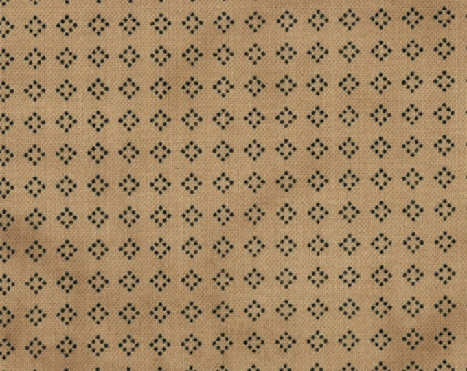 Half Yard Snowman Gatherings - Navy Blue on Paper Bag Brown Cotton Quilt Fabric - Primitive Gatherings for Moda Fabrics (W404)