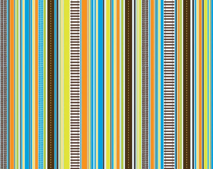 SUPER CLEARANCE!! One Yard On The Go - Stripes in Blue -Green Orange Stripe Cotton Quilt Fabric - Bo Bunny for Riley Blake Fabrics (W572)
