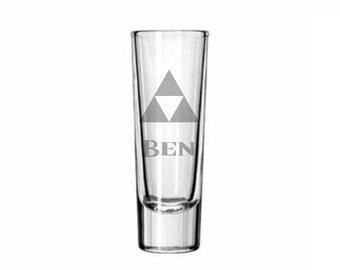 Personalized Zelda Shot Glass - Triforce Shot Glass - DEEP Etched Legend of Zelda Glass - Geeky Glassed