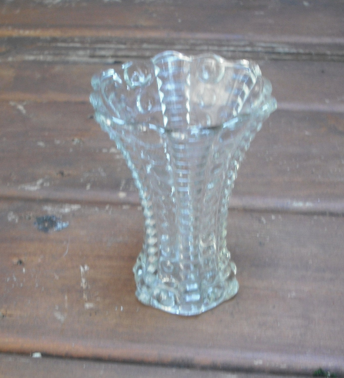 Items Similar To Clear Depression Glass Vase Bubbles And Ladder Pattern 5 Inches Tall On Etsy