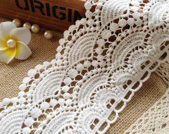 Antique White Cotton Lace Scalloped Trim Embroidered Fabric Lace 3.81 Inches wide 2 Yards