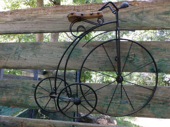 Old metal high wheel tricycle wall hanging wall sculpture for Bicycle wheel wall art