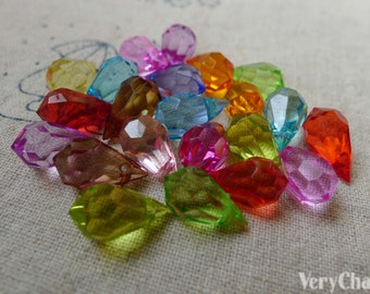 100 pcs of Acrylic Faceted Drop Beads 8x15mm Mixed Color A5604