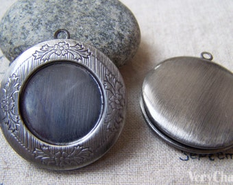 2 pcs of Antique Silver Finished Brass Round Bezel Photo Lockets 32mm A5606