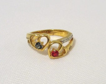 Vintage Sterling Silver Gold Vermeil Blue Sapphire & Ruby Double Heart Ring Size 5