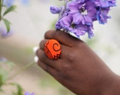 Button ring made with african print fabric