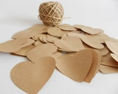 150 Large kraft paper heart die cuts I Heart confetti I Embellishments I Scrapbooking supplies I Wedding decorations - FunkyBoxStudio