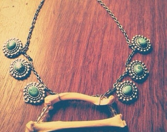 Bone and Turquoise Charm Necklace
