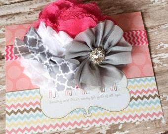 Hot pink, white, & gray flower mix headband, baby headband, toddler headband,