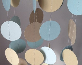 Light Blue, Beige, Ivory, Light Brown 12 ft Circle Paper Garland- Party Decorations, Birthday, Wedding