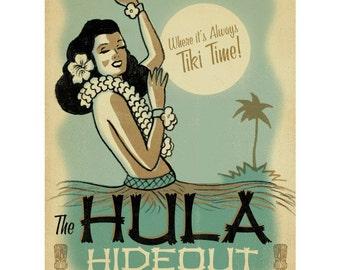 Hula Hideout Tiki Bar Hawaiian Wall Decal #41715