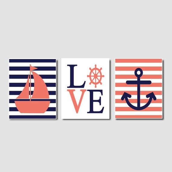 Nautical Coral Navy Wall Art Sailboat Love By LovelyFaceDesigns