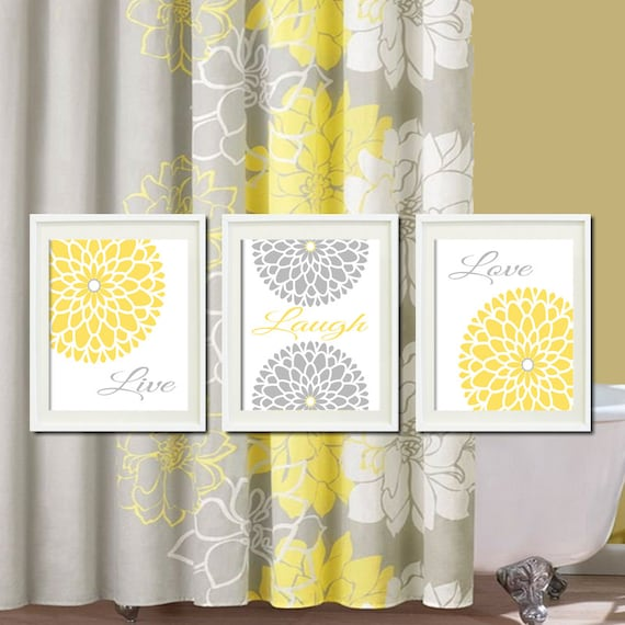 Blue And Yellow Bathroom Decor: Yellow Grey Gray Modern Floral Flower By LovelyFaceDesigns