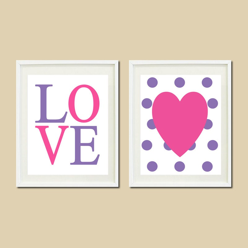 Bathroom Wall Decor Etsy : Heart love baby girl nursery decor set of by