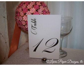 Black Table Numbers/ Table Cards: Set of 20