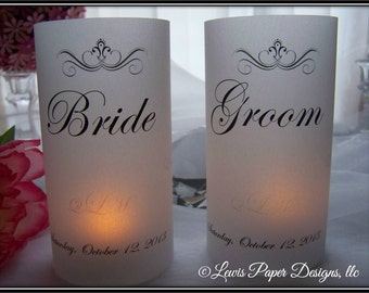 Bride groom table etsy bride and groom luminaryluminary table card table number luminary place card sciox Images