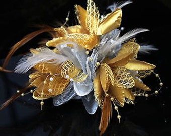 Silver and Gold Fascinator Black Headband Clip Comb Flower Corsage