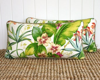 """Tropical Orchid Outdoor Lumbar Cushion Pillow Cover with piping 