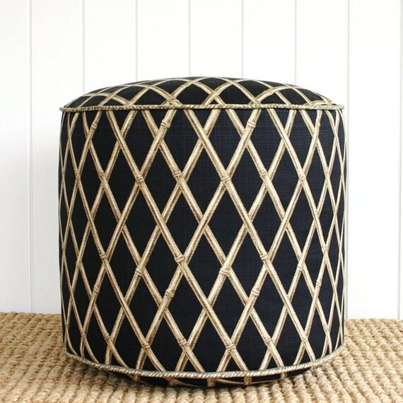 Items similar to black bamboo outdoor pouf ottoman floor for Ulani outdoor round pouf ottoman