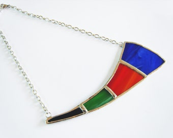 Stained Glass Statement Necklace - Colorful Necklace - Stained Glass Jewelry