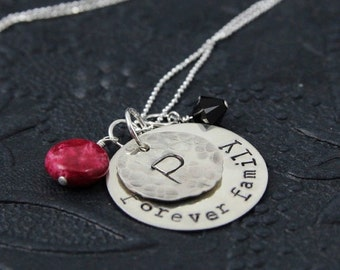 Forever Family Necklace, Family Necklace, Gift for Mom Necklace, Monogram Necklace, Hand Stamped Sterling Silver Jewelry