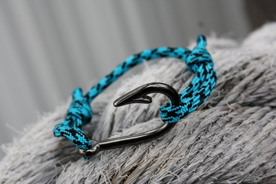 Gunmetal fish hook bracelet with teal and black by for Fish hook paracord bracelet