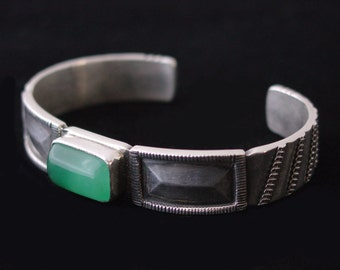 Sterling Silver Mens Heavy Cuff Bracelet Chrysoprase ... Made to Order