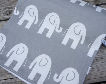Elephant Baby Blanket - Grey and White Baby or Toddler Blanket  - Your Choice of Minky