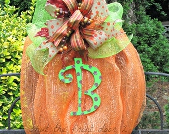 Deco mesh pumpkin wreath, initial wreath, fall mesh wreath