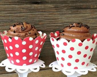 24 Red and White Polka Dot Cupcake Wrap, Holiday Cupcakes, Baking Suppllies
