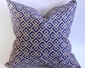 Royal Blue Lattice Print Pillow Cover