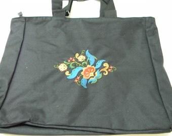 Embroidered Pocket Tote Bag ~ Scandinavian Norwegian Rosemaling #861